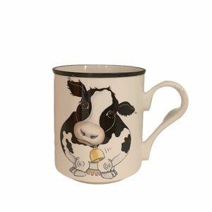 VINTAGE Arthur Wood Cow England Black White Mug